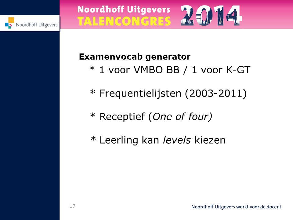 17 Examenvocab generator * 1 voor VMBO BB / 1 voor K-GT * Frequentielijsten (2003-2011) * Receptief (One of four) * Leerling kan levels kiezen