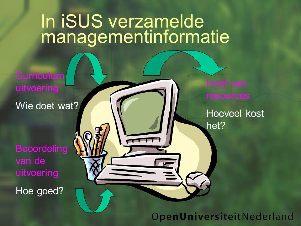 In iSUS verzamelde managementinformatie Curriculum uitvoering Wie doet wat.