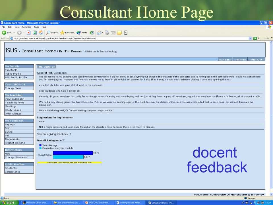 Consultant Home Page docent feedback