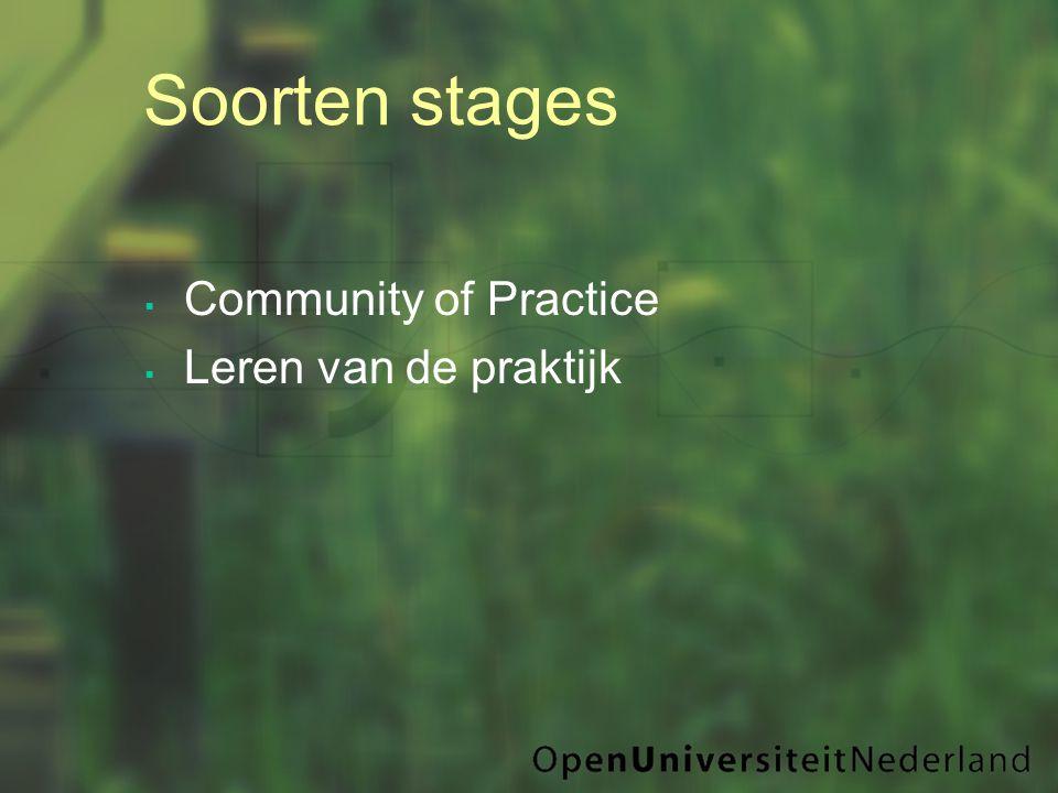  Community of Practice  Leren van de praktijk Soorten stages