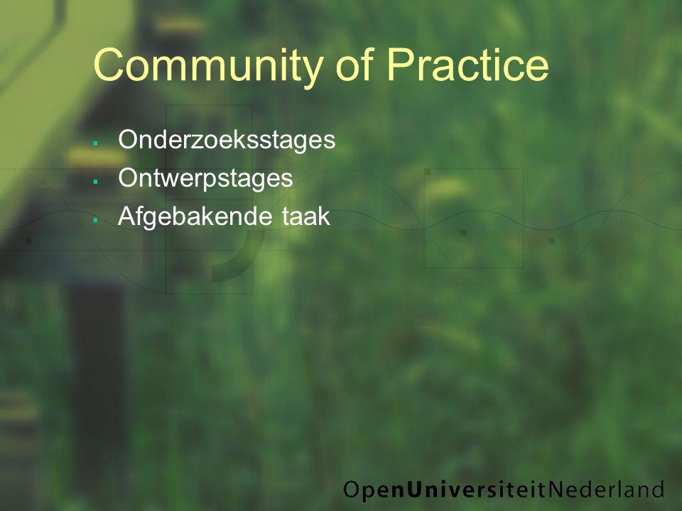Community of Practice  Onderzoeksstages  Ontwerpstages  Afgebakende taak