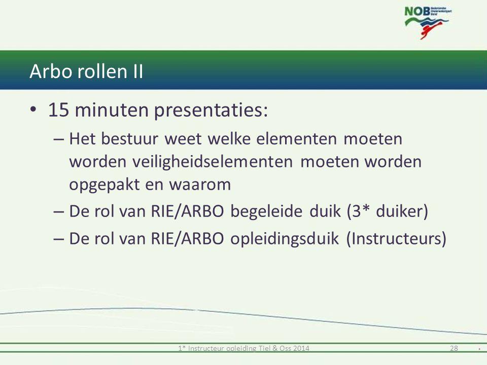 Arbo rollen II 15 minuten presentaties: – Het bestuur weet welke elementen moeten worden veiligheidselementen moeten worden opgepakt en waarom – De ro
