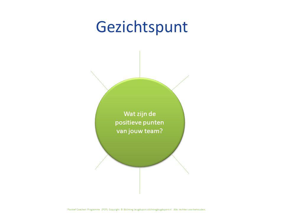 Positief Coachen Programma (PCP) Copyright © Stichting Jeugdsport stichtingjeugdsport.nl Alle rechten voorbehouden. Gezichtspunt Wat zijn de positieve