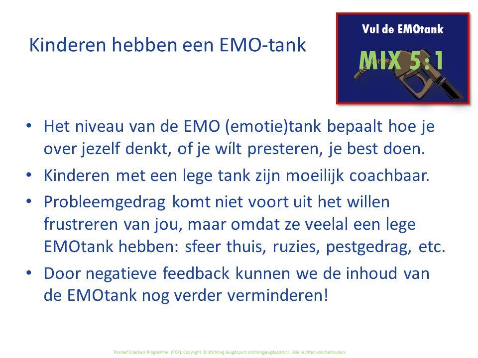 Positief Coachen Programma (PCP) Copyright © Stichting Jeugdsport stichtingjeugdsport.nl Alle rechten voorbehouden. Vul de EMOtank MIX 5 : 1 Het nivea
