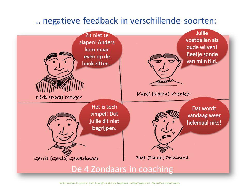 Positief Coachen Programma (PCP) Copyright © Stichting Jeugdsport stichtingjeugdsport.nl Alle rechten voorbehouden... negatieve feedback in verschille