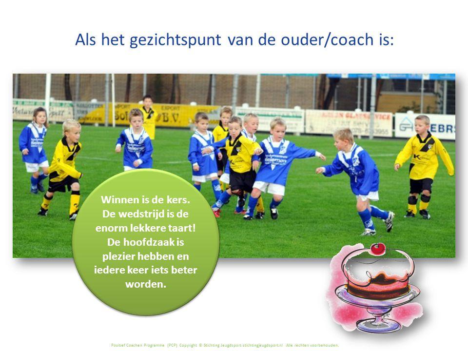 Positief Coachen Programma (PCP) Copyright © Stichting Jeugdsport stichtingjeugdsport.nl Alle rechten voorbehouden. Winnen is de kers. De wedstrijd is