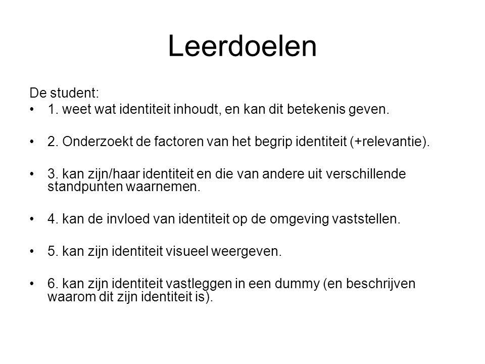 Leerdoelen De student: 1. weet wat identiteit inhoudt, en kan dit betekenis geven.