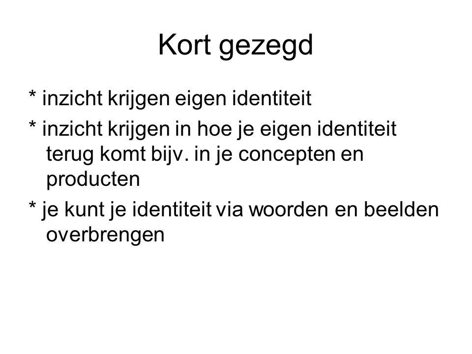 Kort gezegd * inzicht krijgen eigen identiteit * inzicht krijgen in hoe je eigen identiteit terug komt bijv.