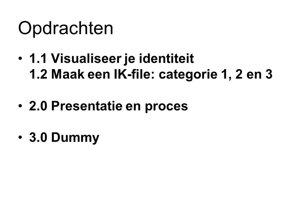 Opdrachten 1.1 Visualiseer je identiteit 1.2 Maak een IK-file: categorie 1, 2 en 3 2.0 Presentatie en proces 3.0 Dummy