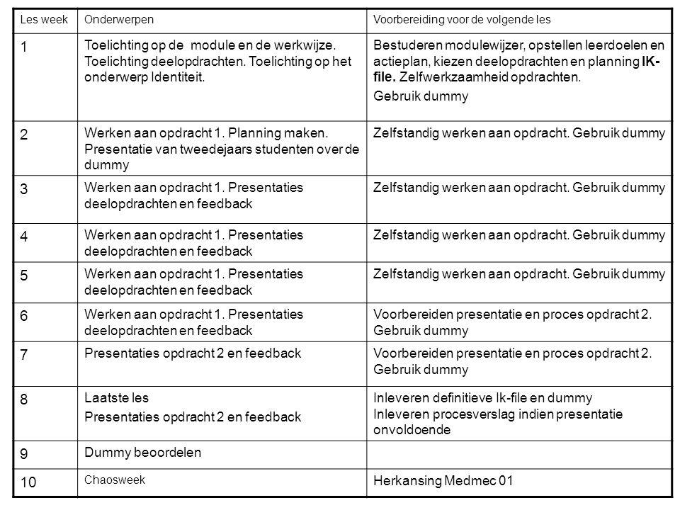 In groepjes uitzoeken: Leerdoelen Opdracht 1 Opdracht 2 en 3 Beoordeling