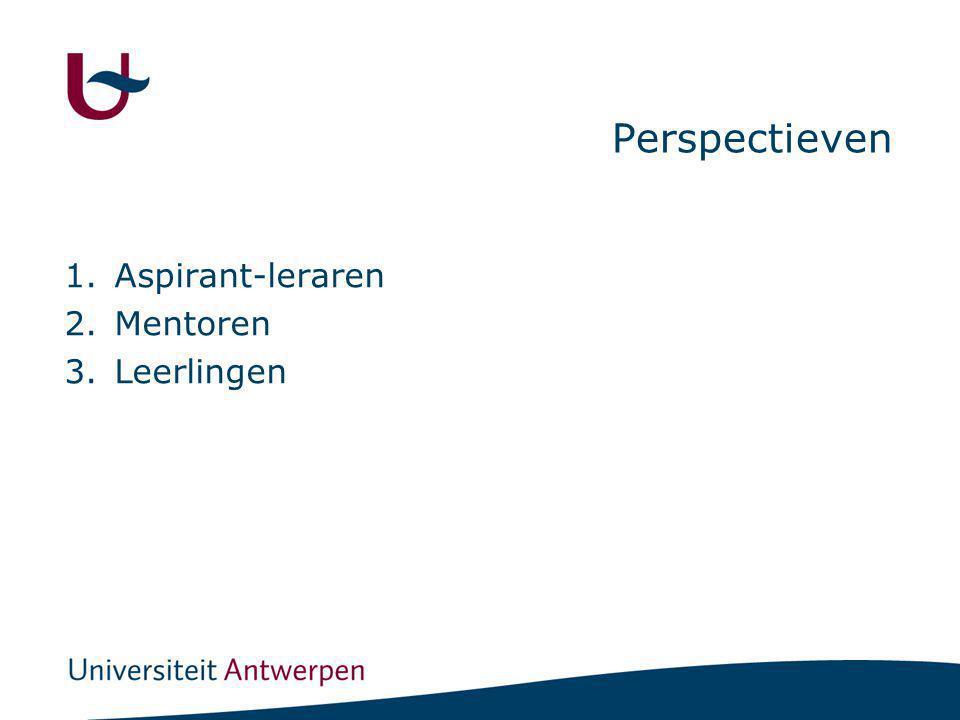 Perspectieven 1.Aspirant-leraren 2.Mentoren 3.Leerlingen