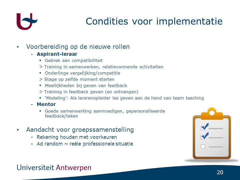 20 Condities voor implementatie Voorbereiding op de nieuwe rollen -Aspirant-leraar  Gebrek aan compatibiliteit > Training in samenwerken, relatievorm