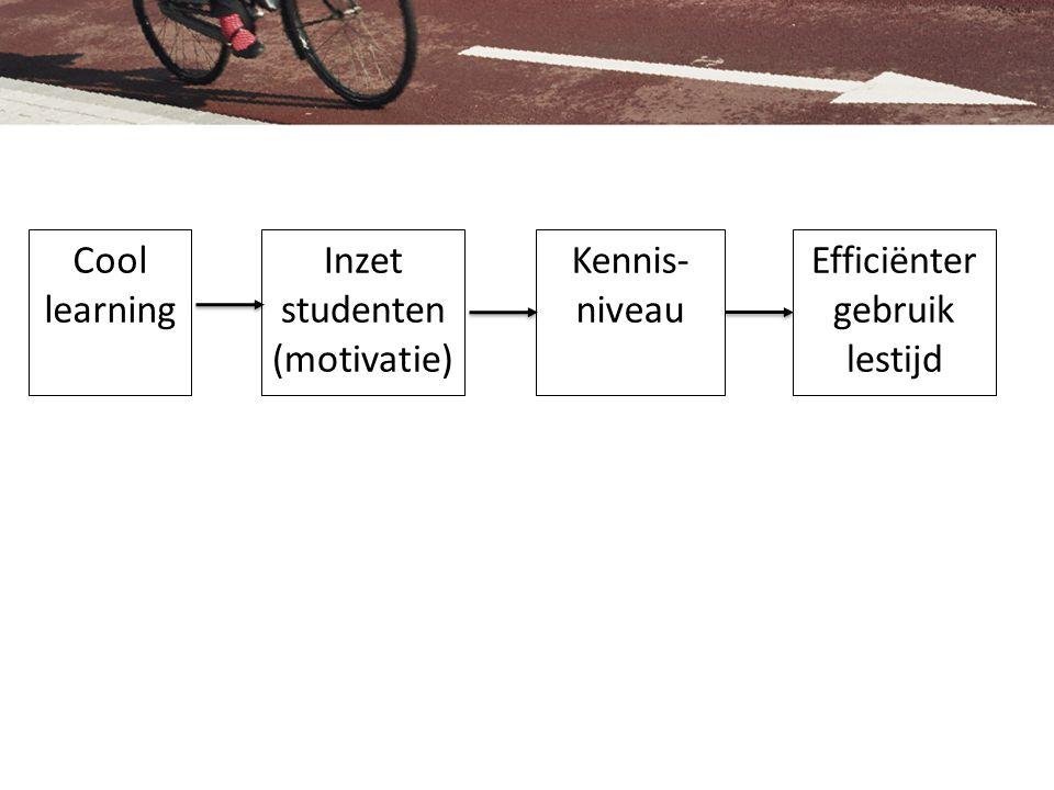 Cool learning Kennis- niveau Inzet studenten (motivatie) Efficiënter gebruik lestijd
