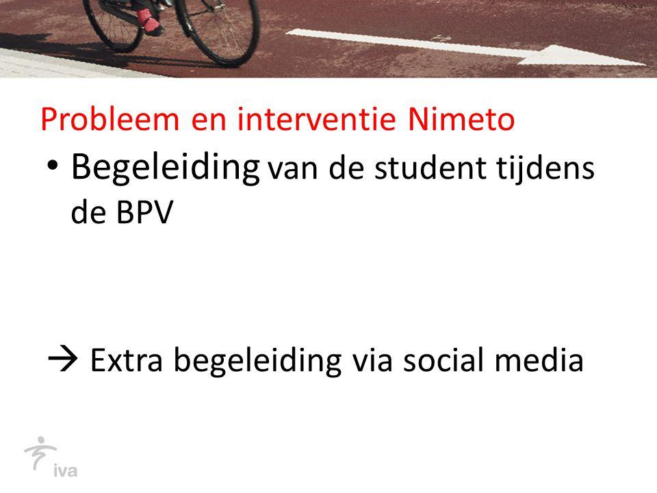 Probleem en interventie Nimeto Begeleiding van de student tijdens de BPV  Extra begeleiding via social media