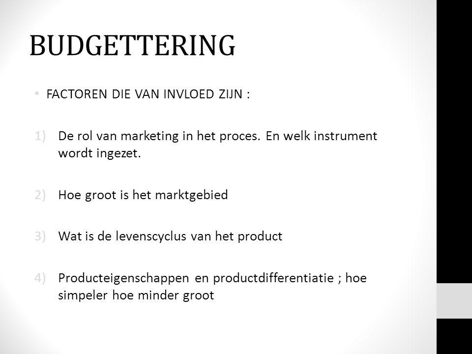 BUDGETTERING FACTOREN DIE VAN INVLOED ZIJN : 1)De rol van marketing in het proces.