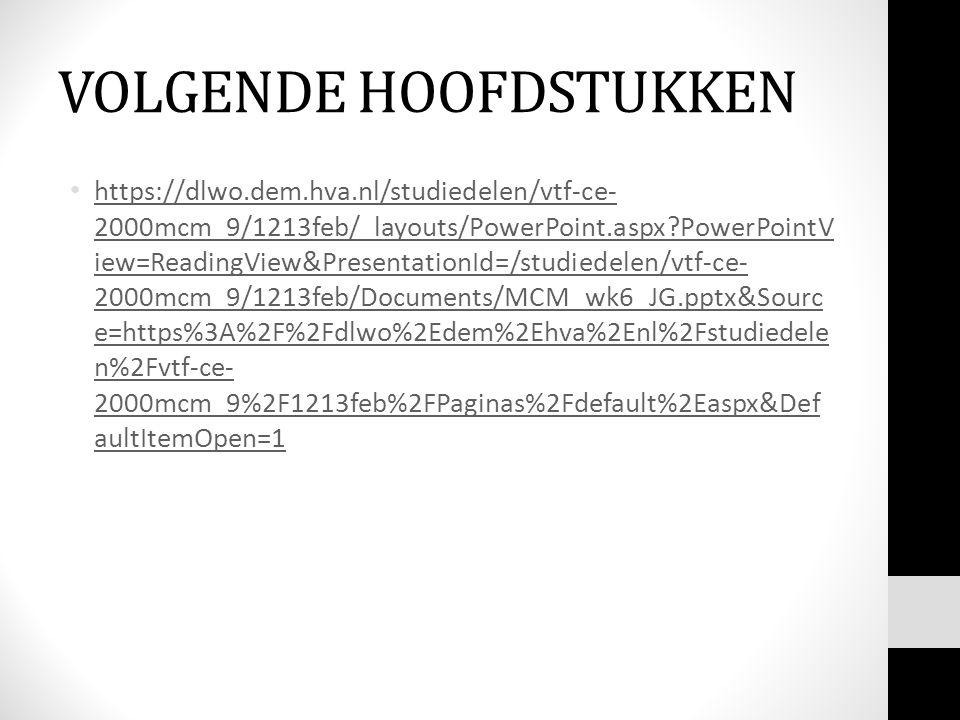 VOLGENDE HOOFDSTUKKEN https://dlwo.dem.hva.nl/studiedelen/vtf-ce- 2000mcm_9/1213feb/_layouts/PowerPoint.aspx?PowerPointV iew=ReadingView&PresentationId=/studiedelen/vtf-ce- 2000mcm_9/1213feb/Documents/MCM_wk6_JG.pptx&Sourc e=https%3A%2F%2Fdlwo%2Edem%2Ehva%2Enl%2Fstudiedele n%2Fvtf-ce- 2000mcm_9%2F1213feb%2FPaginas%2Fdefault%2Easpx&Def aultItemOpen=1 https://dlwo.dem.hva.nl/studiedelen/vtf-ce- 2000mcm_9/1213feb/_layouts/PowerPoint.aspx?PowerPointV iew=ReadingView&PresentationId=/studiedelen/vtf-ce- 2000mcm_9/1213feb/Documents/MCM_wk6_JG.pptx&Sourc e=https%3A%2F%2Fdlwo%2Edem%2Ehva%2Enl%2Fstudiedele n%2Fvtf-ce- 2000mcm_9%2F1213feb%2FPaginas%2Fdefault%2Easpx&Def aultItemOpen=1