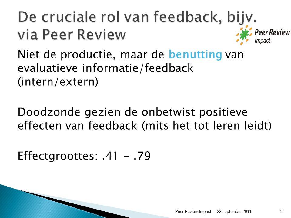 Niet de productie, maar de benutting van evaluatieve informatie/feedback (intern/extern) Doodzonde gezien de onbetwist positieve effecten van feedback