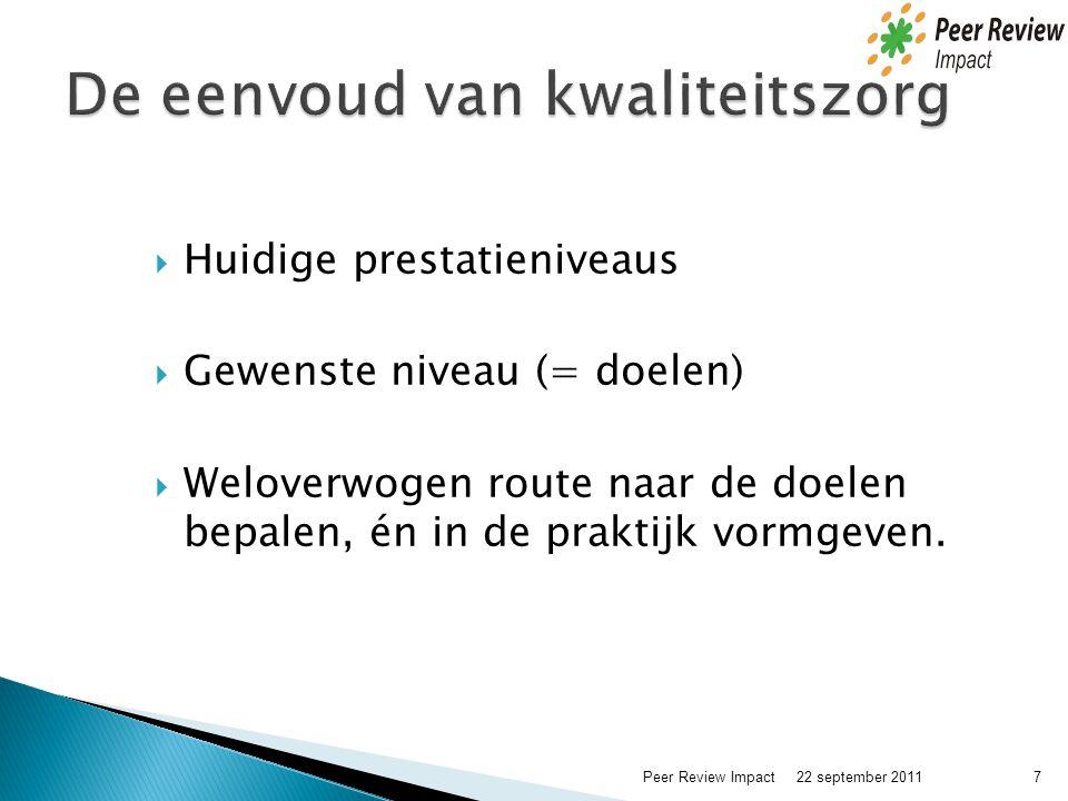  Huidige prestatieniveaus  Gewenste niveau (= doelen)  Weloverwogen route naar de doelen bepalen, én in de praktijk vormgeven. 22 september 2011 7P