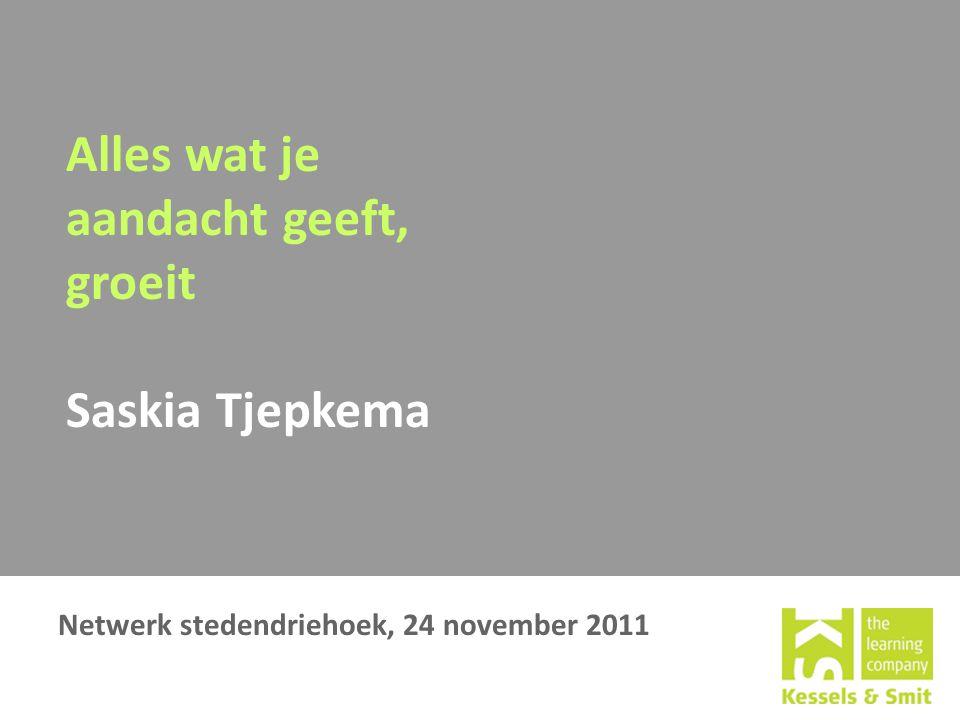 Alles wat je aandacht geeft, groeit Saskia Tjepkema Netwerk stedendriehoek, 24 november 2011