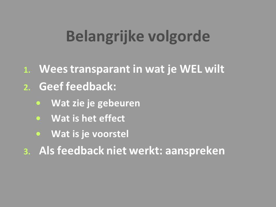 Belangrijke volgorde 1. Wees transparant in wat je WEL wilt 2. Geef feedback: Wat zie je gebeuren Wat is het effect Wat is je voorstel 3. Als feedback