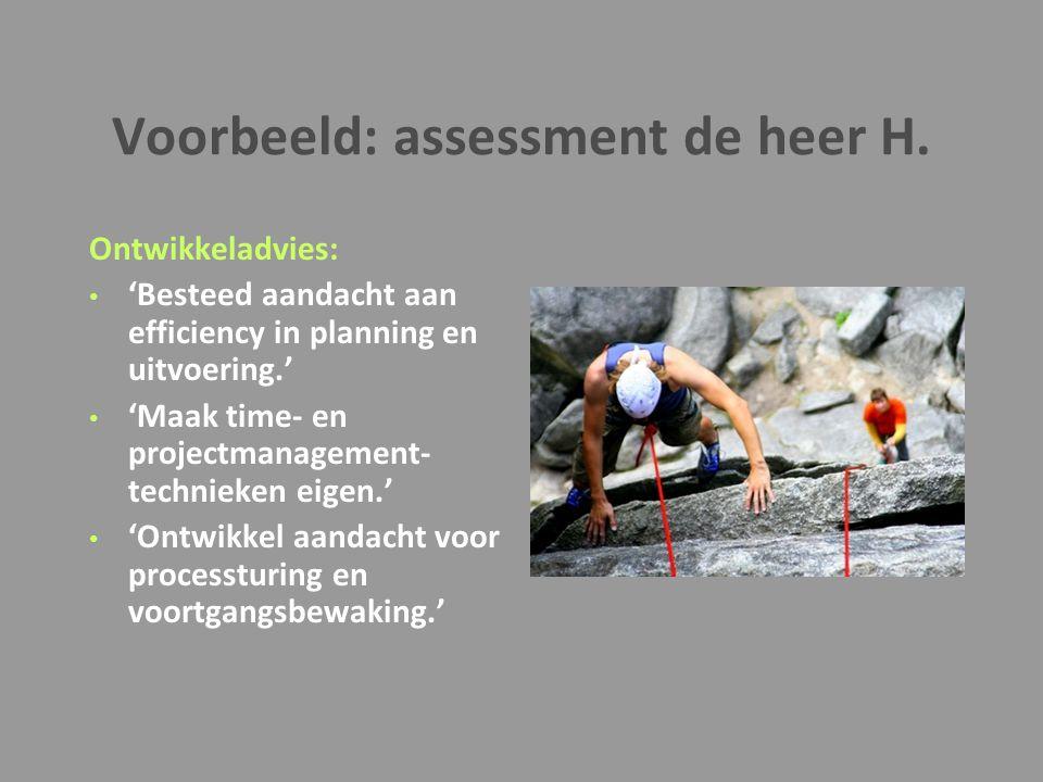 Voorbeeld: assessment de heer H. Ontwikkeladvies: 'Besteed aandacht aan efficiency in planning en uitvoering.' 'Maak time- en projectmanagement- techn