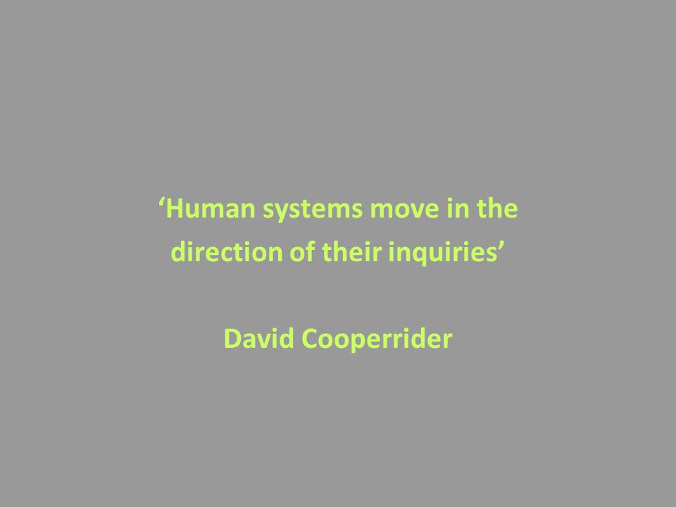 'Human systems move in the direction of their inquiries' David Cooperrider