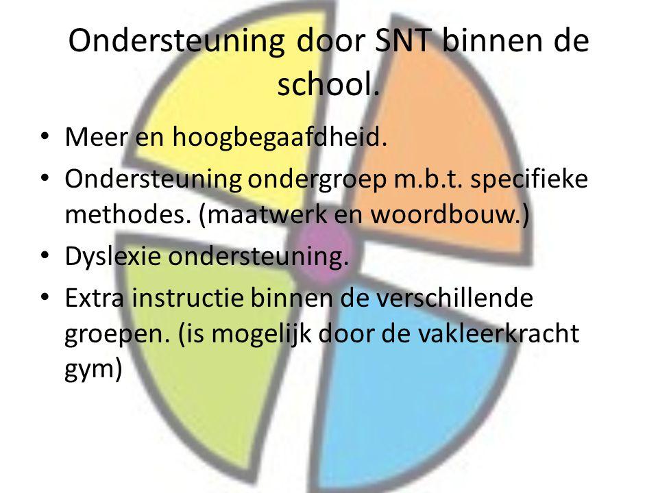 Ondersteuning door SNT binnen de school. Meer en hoogbegaafdheid. Ondersteuning ondergroep m.b.t. specifieke methodes. (maatwerk en woordbouw.) Dyslex