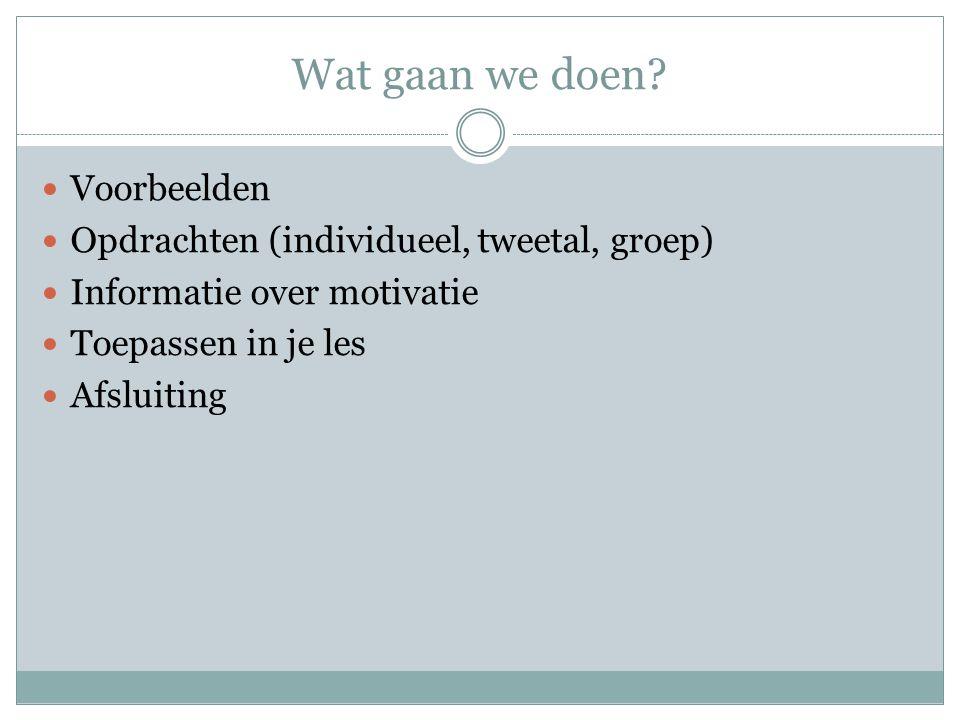 Wat gaan we doen? Voorbeelden Opdrachten (individueel, tweetal, groep) Informatie over motivatie Toepassen in je les Afsluiting
