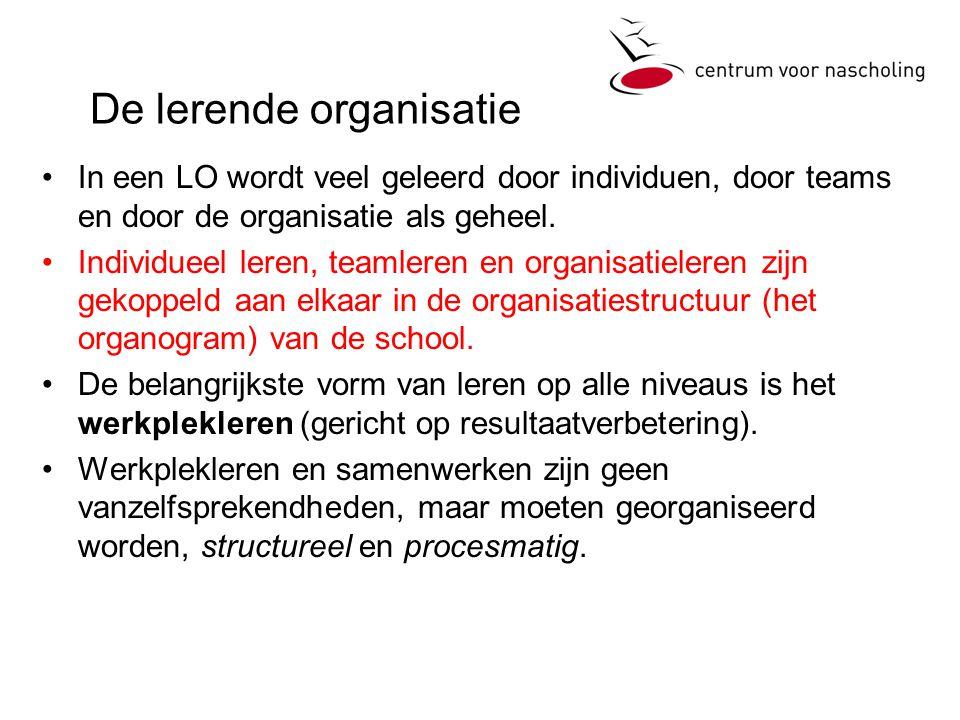 De lerende organisatie In een LO wordt veel geleerd door individuen, door teams en door de organisatie als geheel. Individueel leren, teamleren en org