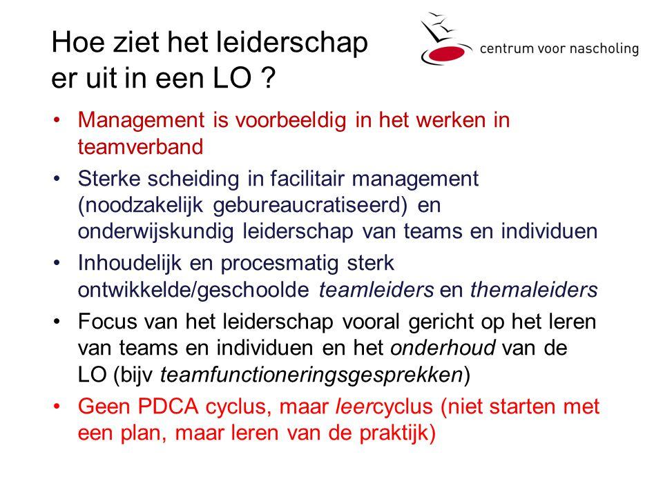 Hoe ziet het leiderschap er uit in een LO ? Management is voorbeeldig in het werken in teamverband Sterke scheiding in facilitair management (noodzake