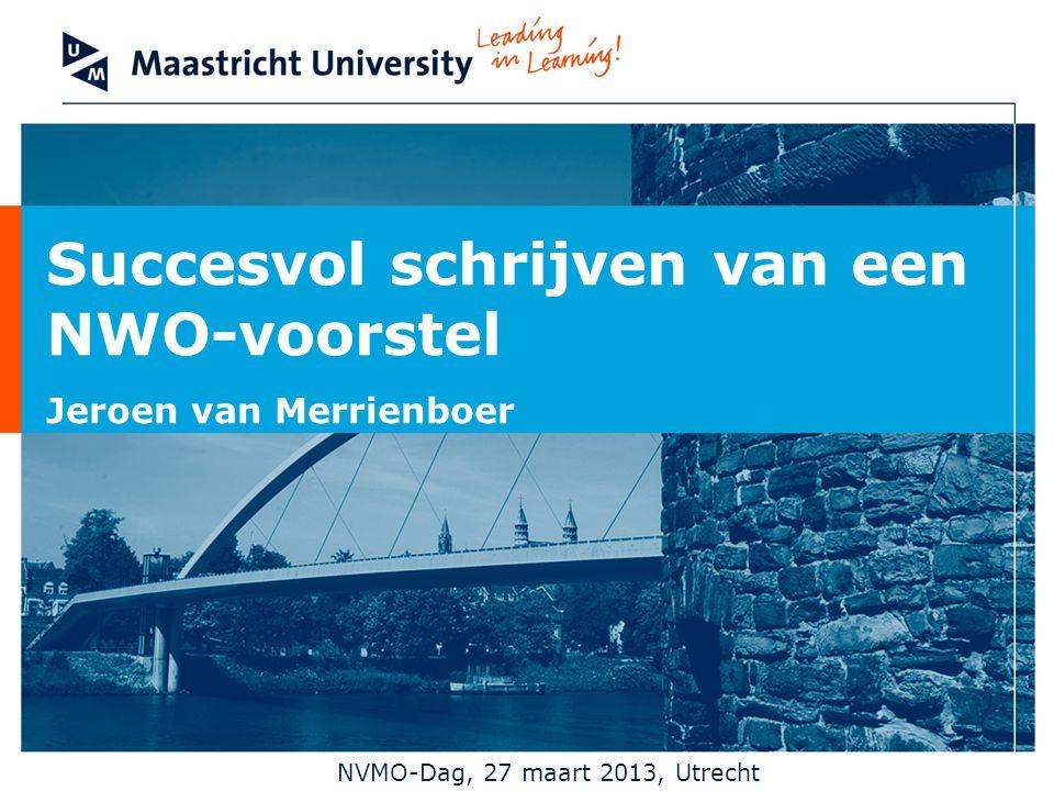 Opdracht (in 2-tallen) -Schrijf, op je eigen expertisegebied, een titel en samenvatting voor een onderzoeksvoorstel -Max 150 woorden -Mag in Nederlands of Engels