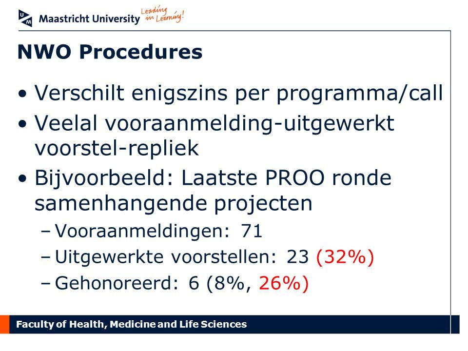 Faculty of Health, Medicine and Life Sciences NWO Procedures Verschilt enigszins per programma/call Veelal vooraanmelding-uitgewerkt voorstel-repliek Bijvoorbeeld: Laatste PROO ronde samenhangende projecten –Vooraanmeldingen: 71 –Uitgewerkte voorstellen: 23 (32%) –Gehonoreerd: 6 (8%, 26%)