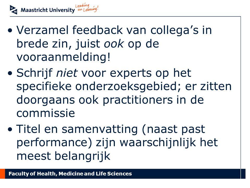 Faculty of Health, Medicine and Life Sciences Opdracht (in 3-tallen): Vergelijk titel en samenvatting van twee vooraanmeldingen Wat zijn relevante criteria voor een goede titel/samenvatting.