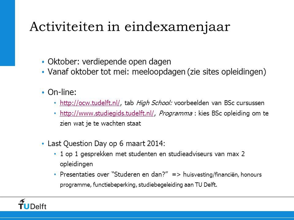 Activiteiten in eindexamenjaar Oktober: verdiepende open dagen Vanaf oktober tot mei: meeloopdagen (zie sites opleidingen) On-line: http://ocw.tudelft