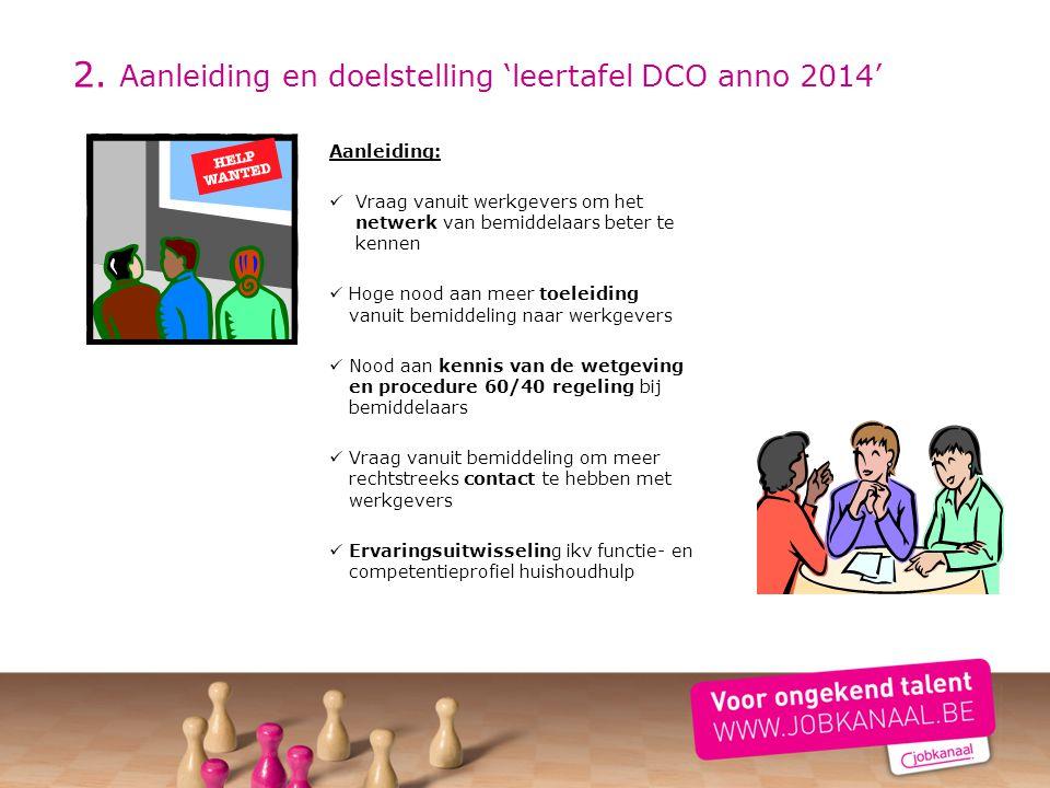 2. Aanleiding en doelstelling 'leertafel DCO anno 2014' Aanleiding: Vraag vanuit werkgevers om het netwerk van bemiddelaars beter te kennen Hoge nood