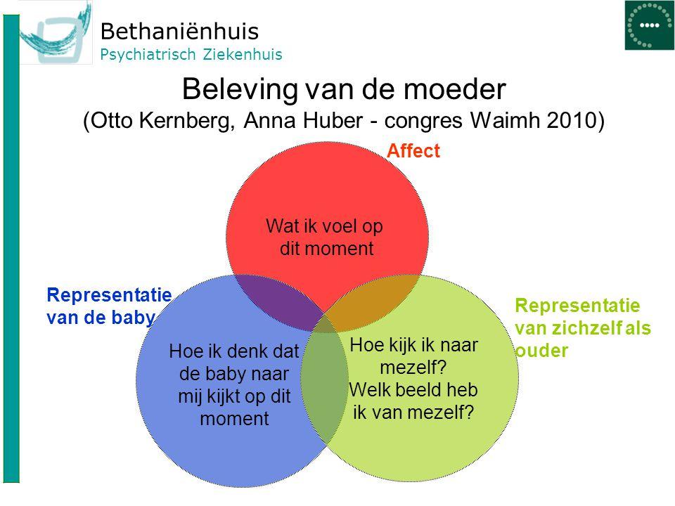 Bethaniënhuis Psychiatrisch Ziekenhuis Beleving van de moeder (Otto Kernberg, Anna Huber - congres Waimh 2010) Wat ik voel op dit moment Hoe ik denk d
