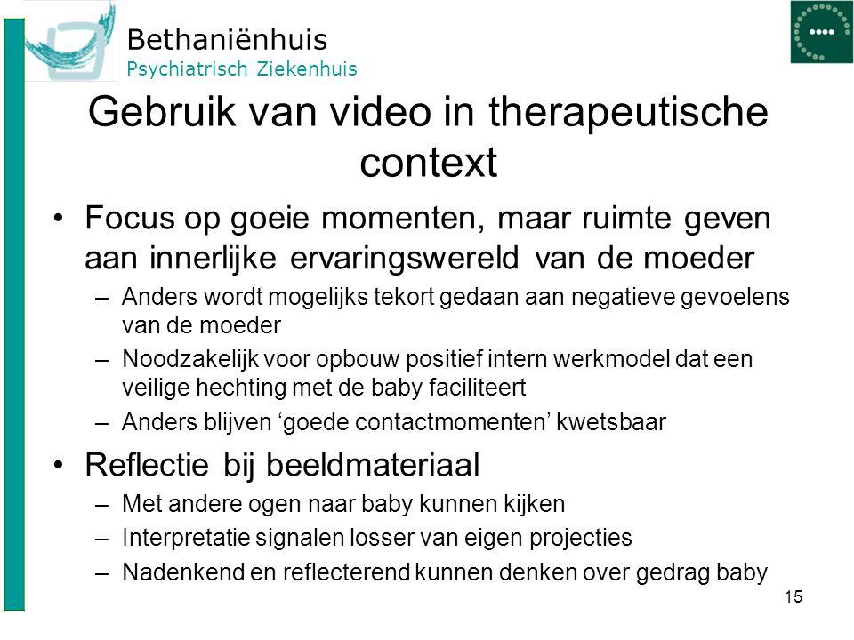 Bethaniënhuis Psychiatrisch Ziekenhuis Gebruik van video in therapeutische context Focus op goeie momenten, maar ruimte geven aan innerlijke ervarings