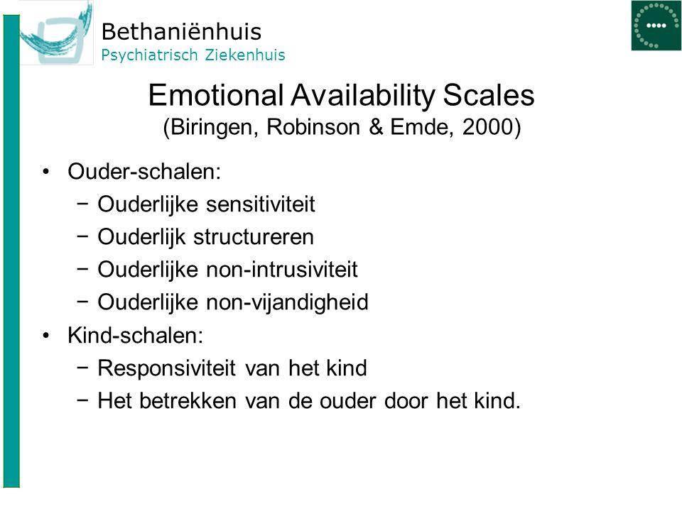 Bethaniënhuis Psychiatrisch Ziekenhuis Emotional Availability Scales (Biringen, Robinson & Emde, 2000) Ouder-schalen: −Ouderlijke sensitiviteit −Ouder
