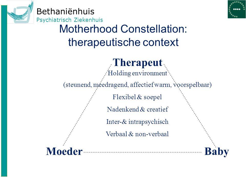 Bethaniënhuis Psychiatrisch Ziekenhuis Motherhood Constellation: therapeutische context Therapeut Holding environment (steunend, meedragend, affectief