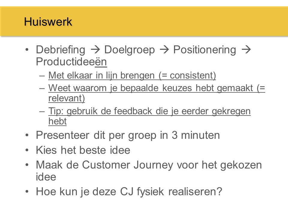 Huiswerk Debriefing  Doelgroep  Positionering  Productideeën –Met elkaar in lijn brengen (= consistent) –Weet waarom je bepaalde keuzes hebt gemaak