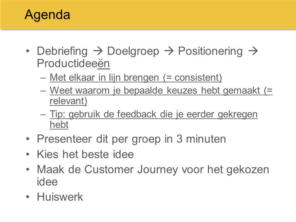 Agenda Debriefing  Doelgroep  Positionering  Productideeën –Met elkaar in lijn brengen (= consistent) –Weet waarom je bepaalde keuzes hebt gemaakt
