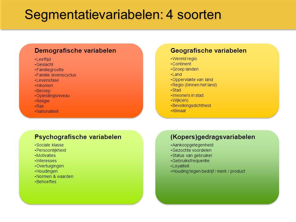 Segmentatievariabelen: 4 soorten Demografische variabelen Leeftijd Geslacht Familiegrootte Familie levenscyclus Levensfase Inkomen Beroep Opleidingsni