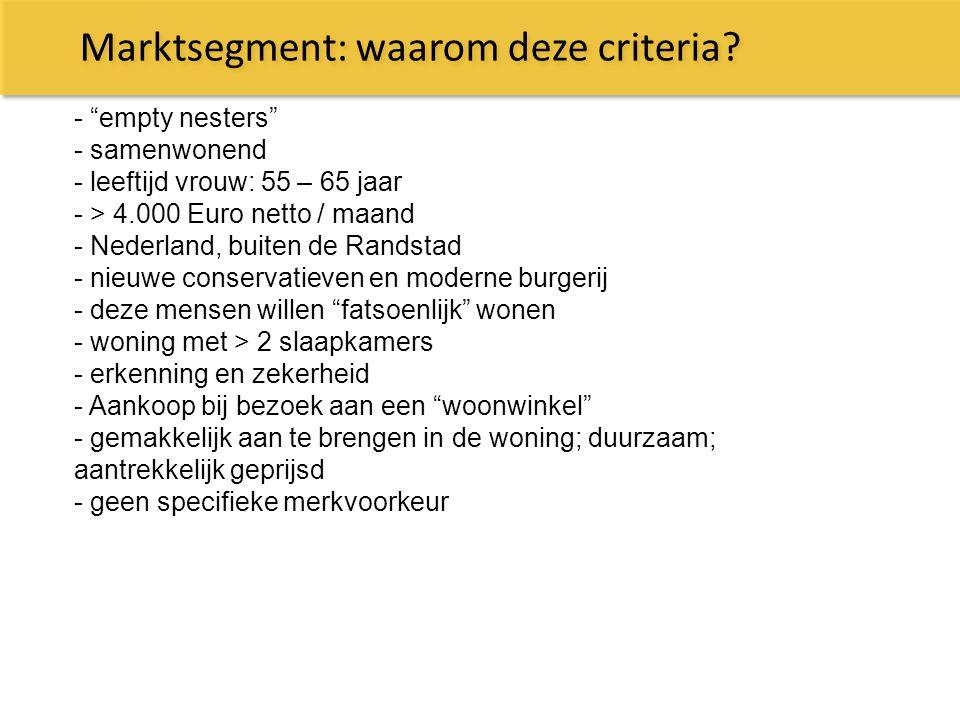 """Marktsegment: waarom deze criteria? - """"empty nesters"""" - samenwonend - leeftijd vrouw: 55 – 65 jaar - > 4.000 Euro netto / maand - Nederland, buiten de"""