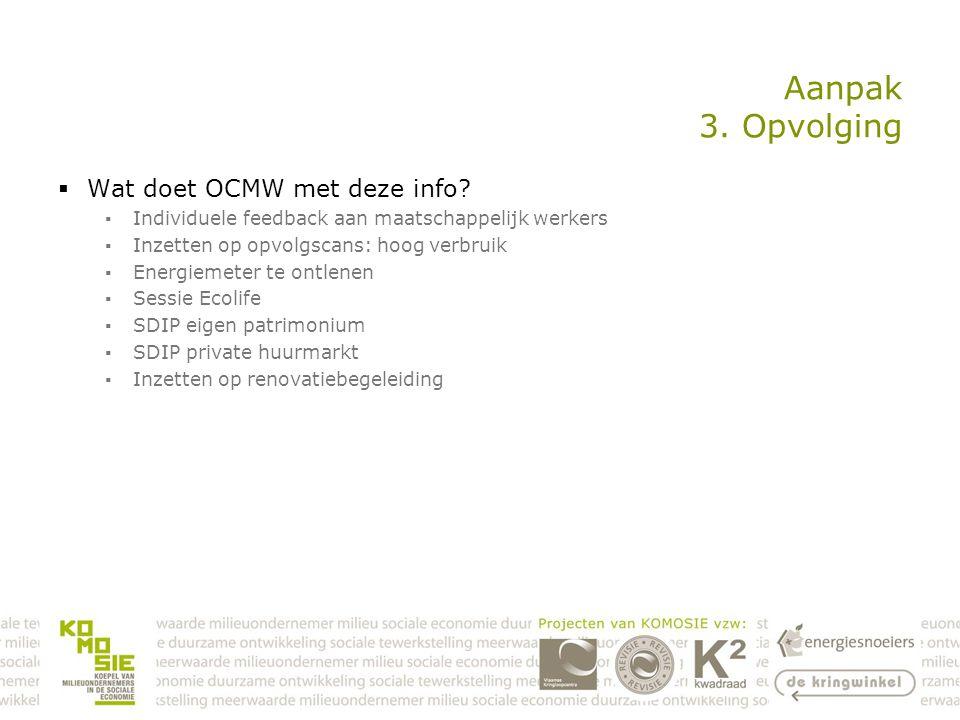 Aanpak 3. Opvolging  Wat doet OCMW met deze info.