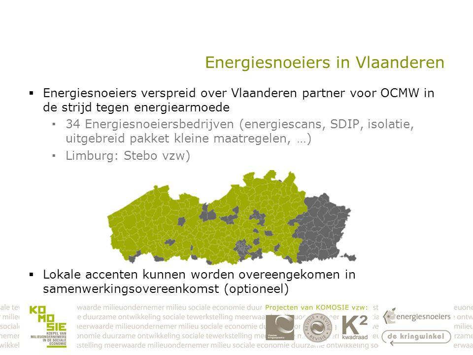Energiesnoeiers in Vlaanderen  Energiesnoeiers verspreid over Vlaanderen partner voor OCMW in de strijd tegen energiearmoede ▪34 Energiesnoeiersbedrijven (energiescans, SDIP, isolatie, uitgebreid pakket kleine maatregelen, …) ▪Limburg: Stebo vzw)  Lokale accenten kunnen worden overeengekomen in samenwerkingsovereenkomst (optioneel)