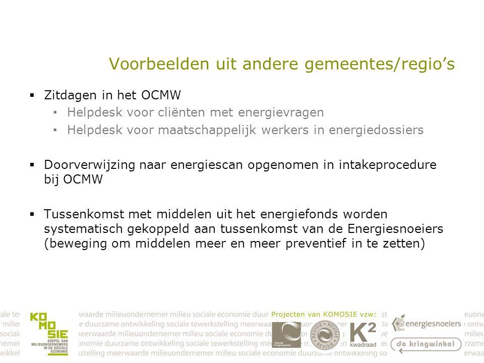 Voorbeelden uit andere gemeentes/regio's  Zitdagen in het OCMW ▪Helpdesk voor cliënten met energievragen ▪Helpdesk voor maatschappelijk werkers in energiedossiers  Doorverwijzing naar energiescan opgenomen in intakeprocedure bij OCMW  Tussenkomst met middelen uit het energiefonds worden systematisch gekoppeld aan tussenkomst van de Energiesnoeiers (beweging om middelen meer en meer preventief in te zetten)