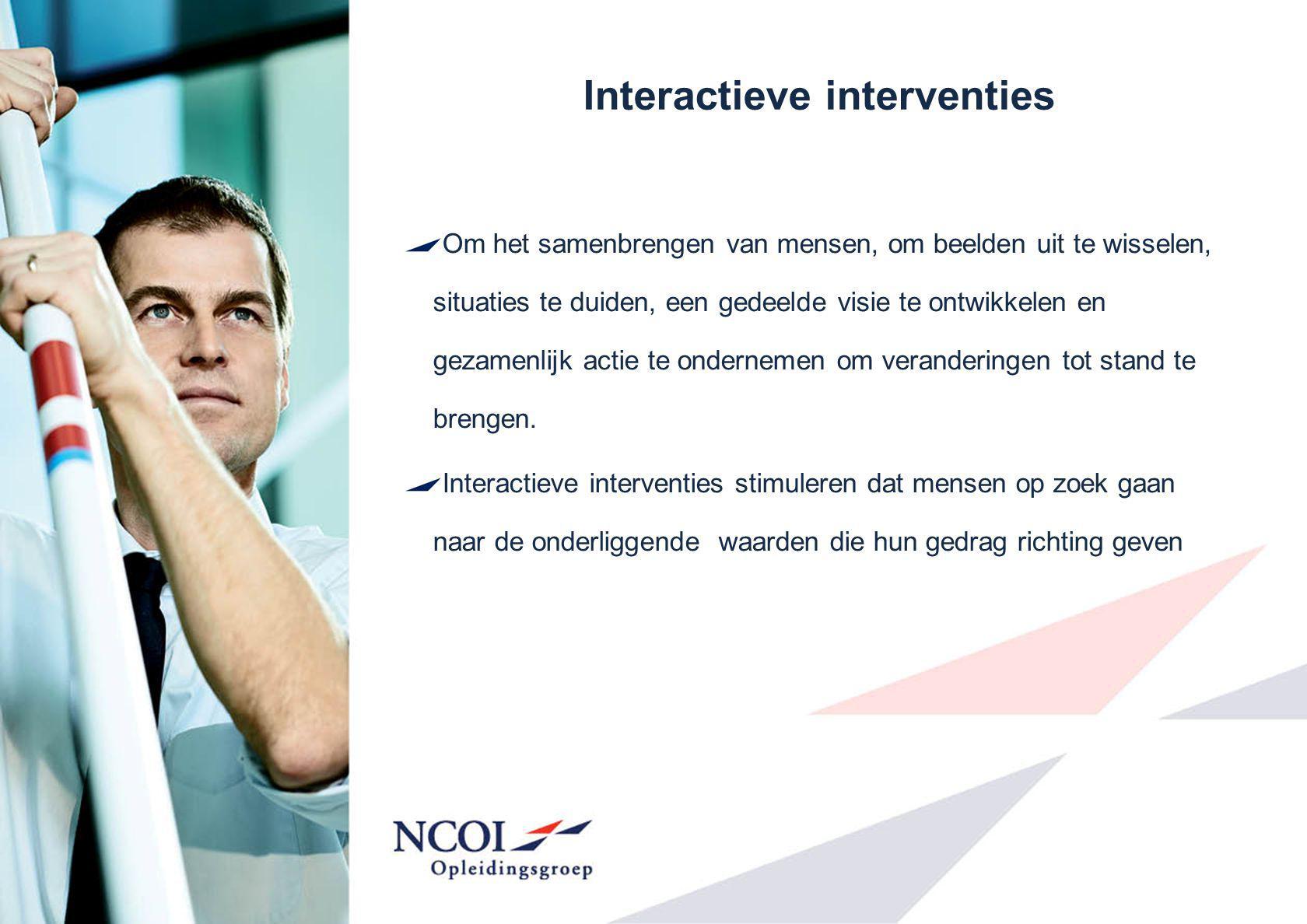 Interactieve interventies Om het samenbrengen van mensen, om beelden uit te wisselen, situaties te duiden, een gedeelde visie te ontwikkelen en gezame