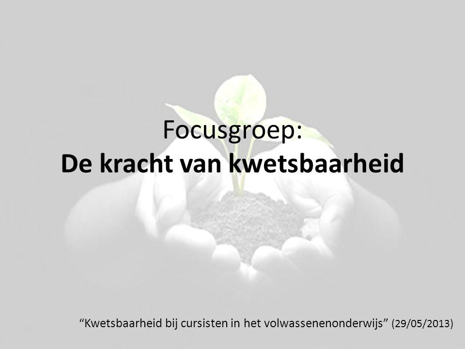 """Focusgroep: De kracht van kwetsbaarheid """"Kwetsbaarheid bij cursisten in het volwassenenonderwijs"""" (29/05/2013)"""