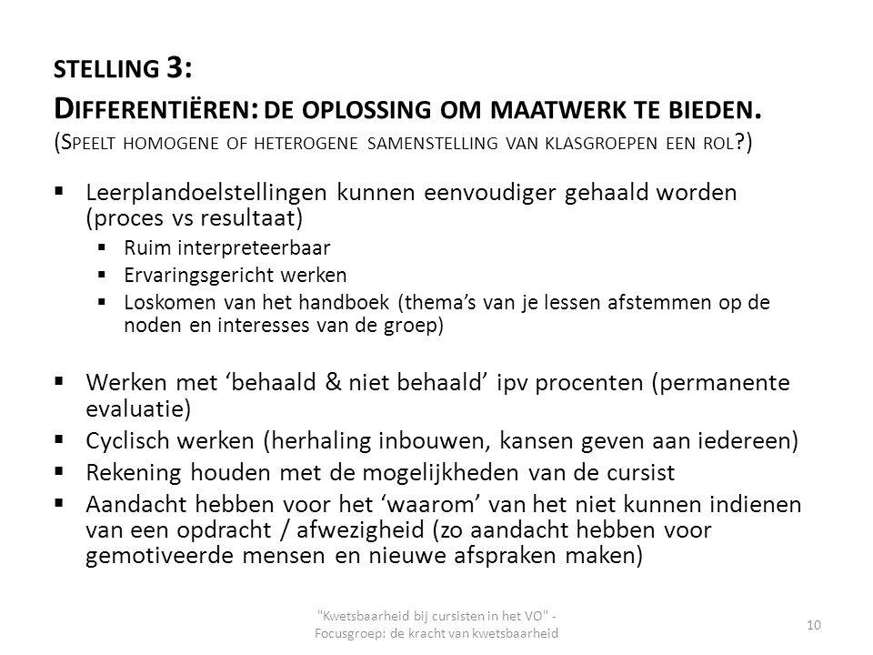 STELLING 3: D IFFERENTIËREN : DE OPLOSSING OM MAATWERK TE BIEDEN. (S PEELT HOMOGENE OF HETEROGENE SAMENSTELLING VAN KLASGROEPEN EEN ROL ?)  Leerpland