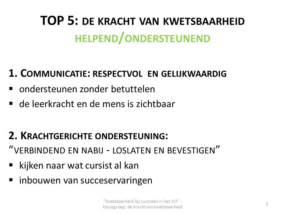 TOP 5: DE KRACHT VAN KWETSBAARHEID HELPEND / ONDERSTEUNEND 1. C OMMUNICATIE : RESPECTVOL EN GELIJKWAARDIG  ondersteunen zonder betuttelen  de leerkr